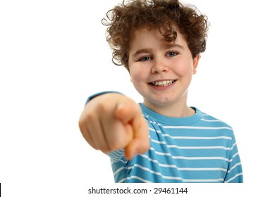Boy pointing isolated on white background
