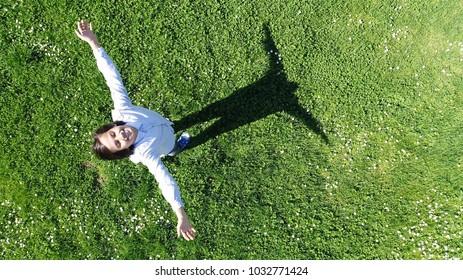 Boy portrait aerial top view