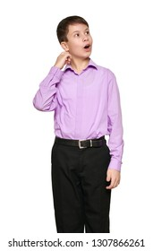 Boy posing on white background, black trousers and purple shirt