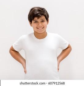 A boy posing in studio