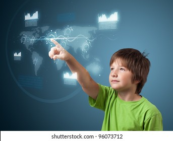 Boy pressing high tech type of modern buttons on a virtual background