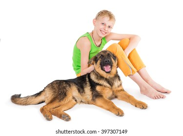 Boy and puppy shepherd dogs on a white background