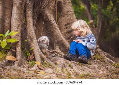 a boy with a rabbit near a big tree