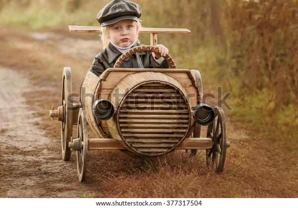 Boy Racer His Homemade Wooden Car Stock Photo Edit Now 377317504