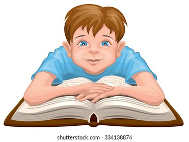 Boy reading book. Child sits in front of an open book. Isolated on white illustration