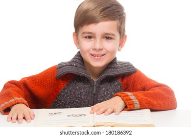 boy reading a book, learning - isolated