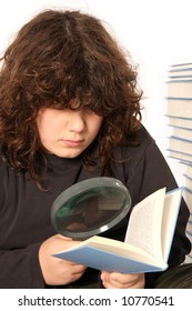 boy reading a book with lens on white background