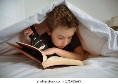 Boy reading under the covers