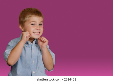 Boy ready for playful fight