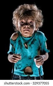 Boy receiving an electric shock after a short circuit
