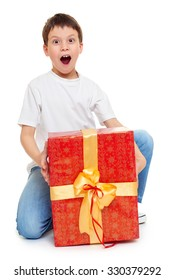 boy with red gift box and golden bow - holiday object concept isolated