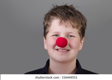 Boy with red nose