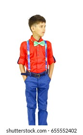 Boy in red shirt and in bow tie on white background.