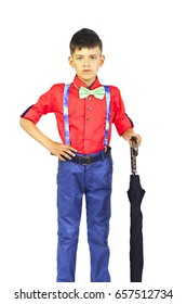 Boy in a red shirt and bow tie and jaws. Portrait boy.