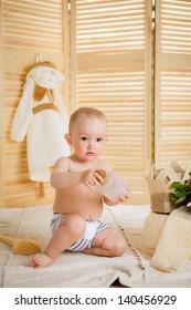 boy relaxing in the sauna. Beauty, healthcare