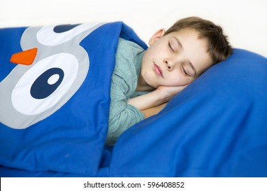 The boy rested comfortably inside the child's sleeping bag and slept sweetly, laying his hand under his head