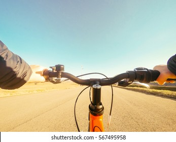 boy riding his new bicycle. POV Original point of View