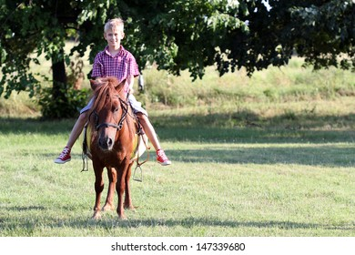 boy riding pony horse in park