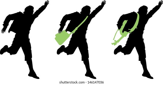 Boy running isolated silhouette