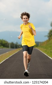 Boy running, jumping