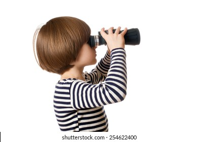 The boy in sailor's striped vest with binoculars, isolated on white background