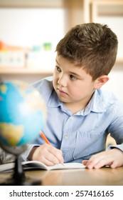 Boy at school - Shutterstock ID 257416165
