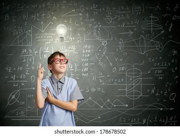 Boy of school age in glasses. Idea concept