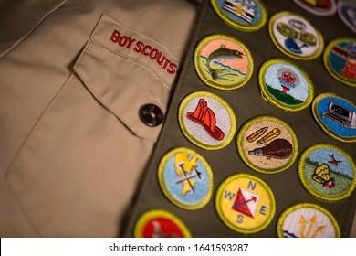 Boy Scout badges and uniform