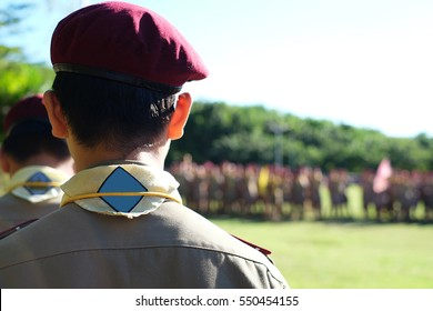 boy scout blurred background
