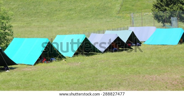 Boy Scout Camp Large Tents Sleep Stock Photo (Edit Now