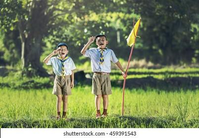 Boy scout making an oath