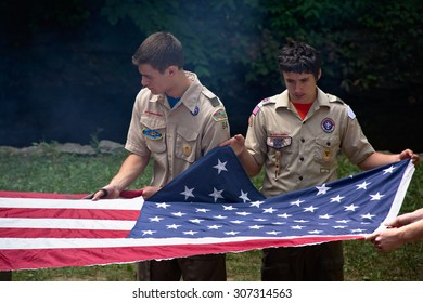 Boy Scouts of America Retire the US Flag: Delaware County, Ohio - July 18, 2014.