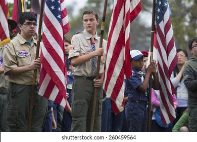 Boy scouts display US Flag at solemn 2014 Memorial Day Event, Los Angeles National Cemetery, California, USA, 05.24.2014