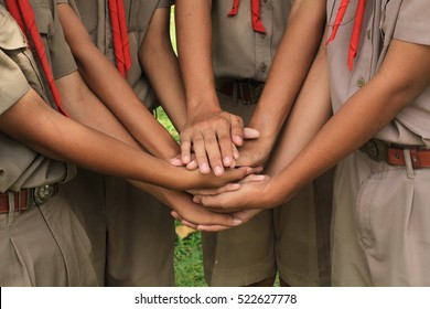 Boy scouts holding hand together in camp , strong concept about teamwork and cooperation, also refers to immigration and friendship.