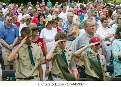Boy scouts salute for American citizens at Independence Day Naturalization Ceremony on July 4, 2005 at Thomas Jefferson's home, Monticello, Charlottesville, Virginia.