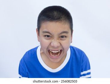 Boy with scream face
