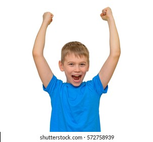 Boy screaming with his arms up.Teen boy happy sports victory. Isolated on white
