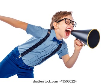 The boy screams in loudspeaker. Isolated on a white background.