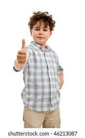 Boy showing thumb up sign isolated on white background