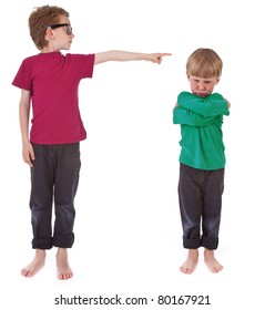 boy showing who is guilty on white background