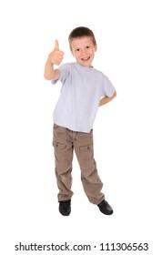 boy shows gesture okay. studio shoot