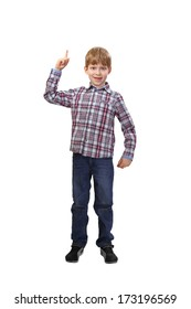 Boy shows he has an idea isolated on white background