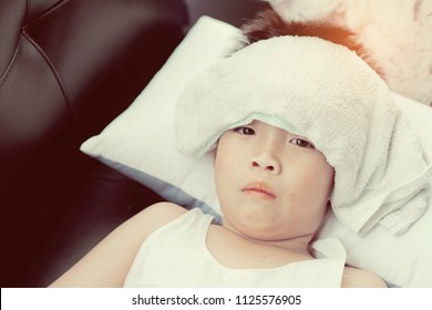 boy sick, child ill, have a fever, kid sleep on bed