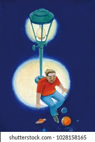 boy sitting in a circle of light from the lamp post lets his legs dangle in the dark where you can see the planets and galaxies