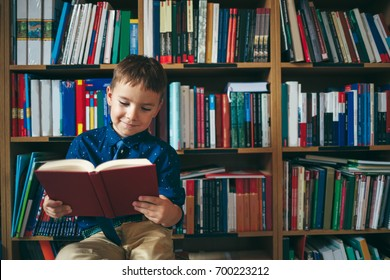 Boy sitting down on a chair reading a book against multi colored bookshelf in library. Education, Knowledge, Bookstore, Lecture.