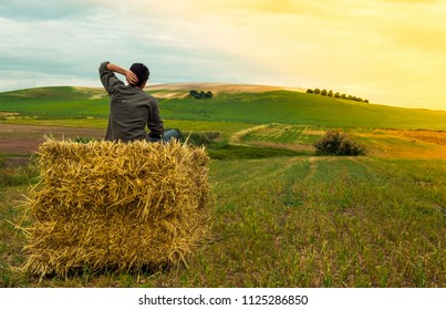 Boy sitting on bale of hay. Man looking at the landscape of a rural meadow during a sunset. Concept of calm, solitude, peace or resting.