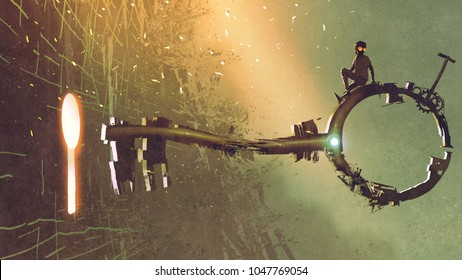 boy sitting on the big key moving towards the keyhole with light glowing inside, digital art style, illustration painting
