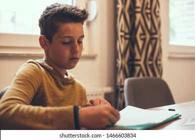 Boy sitting at the table doing his homework.