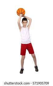 Boy in sleeveless shirt and sport shorts going to throw a basketball ball full height isolated on white background