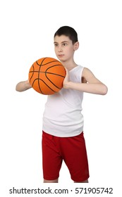Boy in sleeveless shirt and sport shorts going to throw a basketball ball isolated on white background